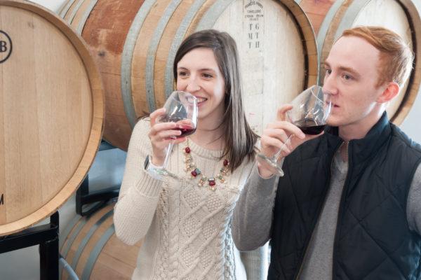 sampling wedding wine