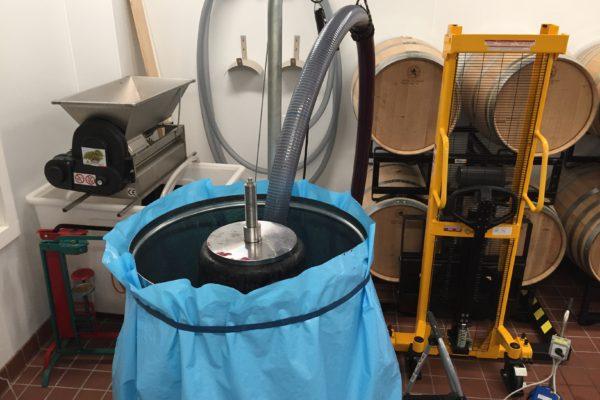 pressing the cabernet sauvignon